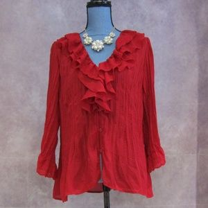 NY Collection Red Accrdion Blouse Eyelet Lace XL